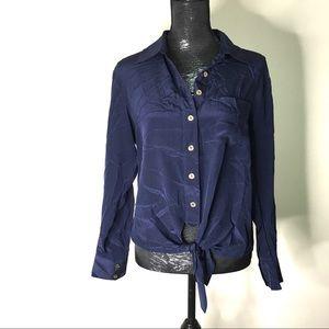 Trina Turk 💯% Silk Helinda Tie Front Shirt